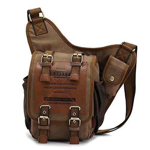 KAUKKO Mochila vendimia en Casual bolsa de mensajero para Hombres (NegroFH03-03) Khaki01