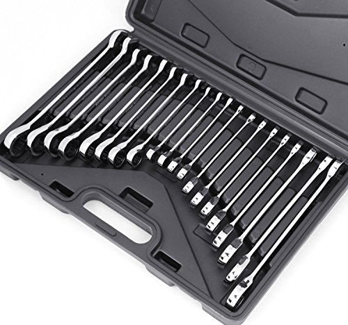 20-Piece Ratcheting Wrench Set, SAE and Metric, Ratchet Wrench Set, They roll up neatly in an organizer box for storage in