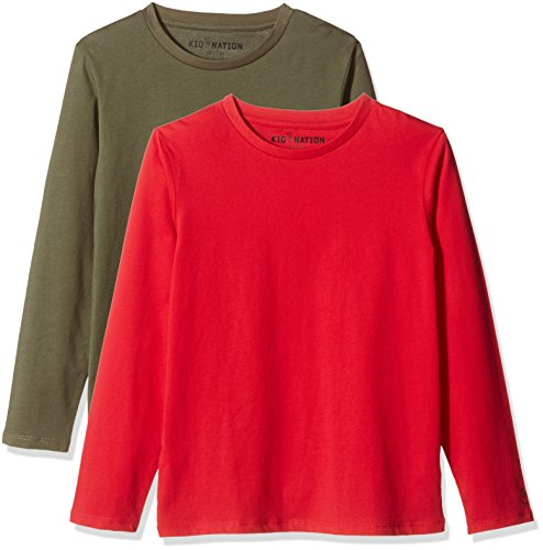 (Kid Nation Kids' 2-Pack 100% Cotton Tag-Free Long Sleeve Crewneck T-Shirt Top for Boys or Girls XL Tomato Red +)