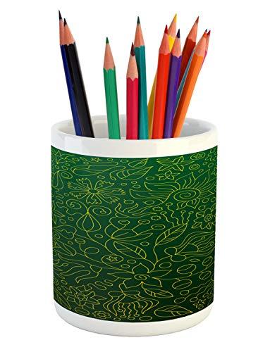 Flourish Flower Essence - Lunarable Hunter Green Pencil Pen Holder, Shabby Chic Spring Florets Flower Petals Blossom Essence Flourish Natural, Printed Ceramic Pencil Pen Holder for Desk Office Accessory, Hunter Green