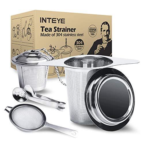 Best Tea Infuser for Loose Leaf Tea,4 PACK Tea Strainer Combo Kits Including-Double Handles Large Tea Steeper, Single Long Handle Tea Filter, Small Cup infuser & Metal Tea Scoop-FDA - Infuser Personal Stainless Tea Steel