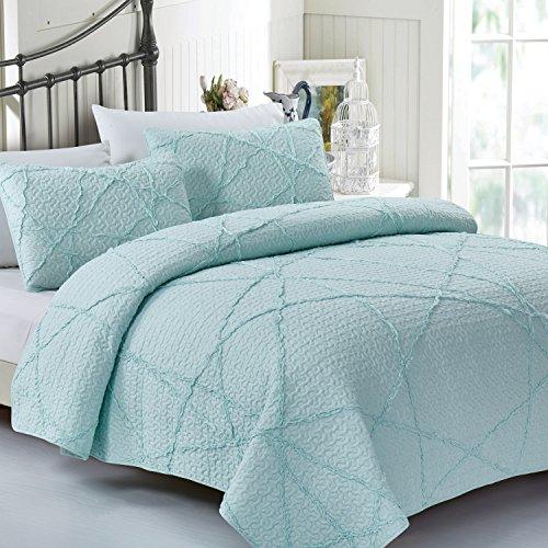 California Design Den Crazy Ruffled Breathable 100% Pure Cotton Luxury Quilt Sets, Full/Queen, Spa Blue, 3 Piece by California Design Den (Image #2)
