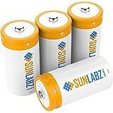 SunLabz® C Rechargeable Batteries (4 Pack) Ultra-Efficient NiCd 3000mAh