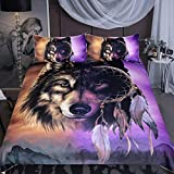 Purple and Gold Duvet Set Sleepwish Wolf Dream Catcher Bedding, Tribal Wolf Midnight Mountains Print, Native American Inspired Gold and Purple Duvet Cover, 3 Piece (Twin)