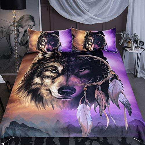 Sleepwish Wolf Dream Catcher Bedding, Tribal Wolf Midnight Mountains Print, Inspired Gold and Purple Duvet Cover, 3 Piece (Queen) ()