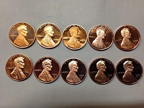 (1980-1981 1982 1983 1984 1985 1986 1987 1988 1989 Proof Lincoln Memorial Cents 10-Coin Decade Run Complete 1980's Set Beautiful Proofs)