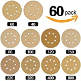 Hilitchi 60-Pcs Assorted Grits 5-Inch 8-Holer Yellow Sanding Discs Sandpaper Hook-and-Loop Pads for Circular Sander Grits Sanding Sheets 10 Sizes - 40/ 60/ 80/ 100/ 120/ 150/ 220/ 320/ 400/ 800 Grits