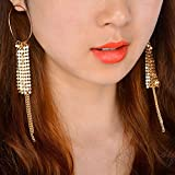 Fashion Silver Long Sequins Dangle Tassel Earrings Ear Stud Women Jewelry Gift