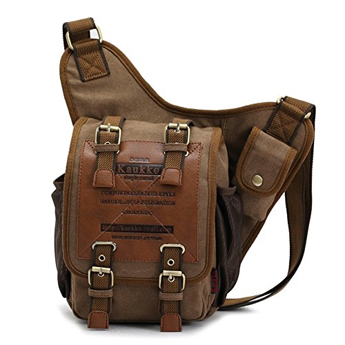 Mens Boys Vintage Canvas Shoulder Military Messenger Bag Sling School Bags Chest Military Leather Patchwork Messenger Bag Great Birthday Gift for Families and Friends (Canvas Black)