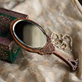 ExclusiveLane Wooden Engraved Handheld Mirror From Royal Queen Collection -Hand Mirror Handheld Vanity Mirror Decorative Mirror Cosmetic Make Up Mirror