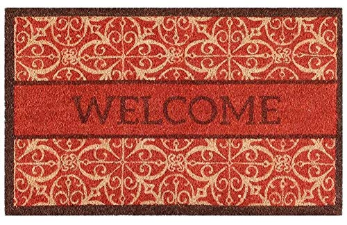 (Trafficmaster Red Welcome Pattern with Natural 18 in. x 30 in. Door Mat)