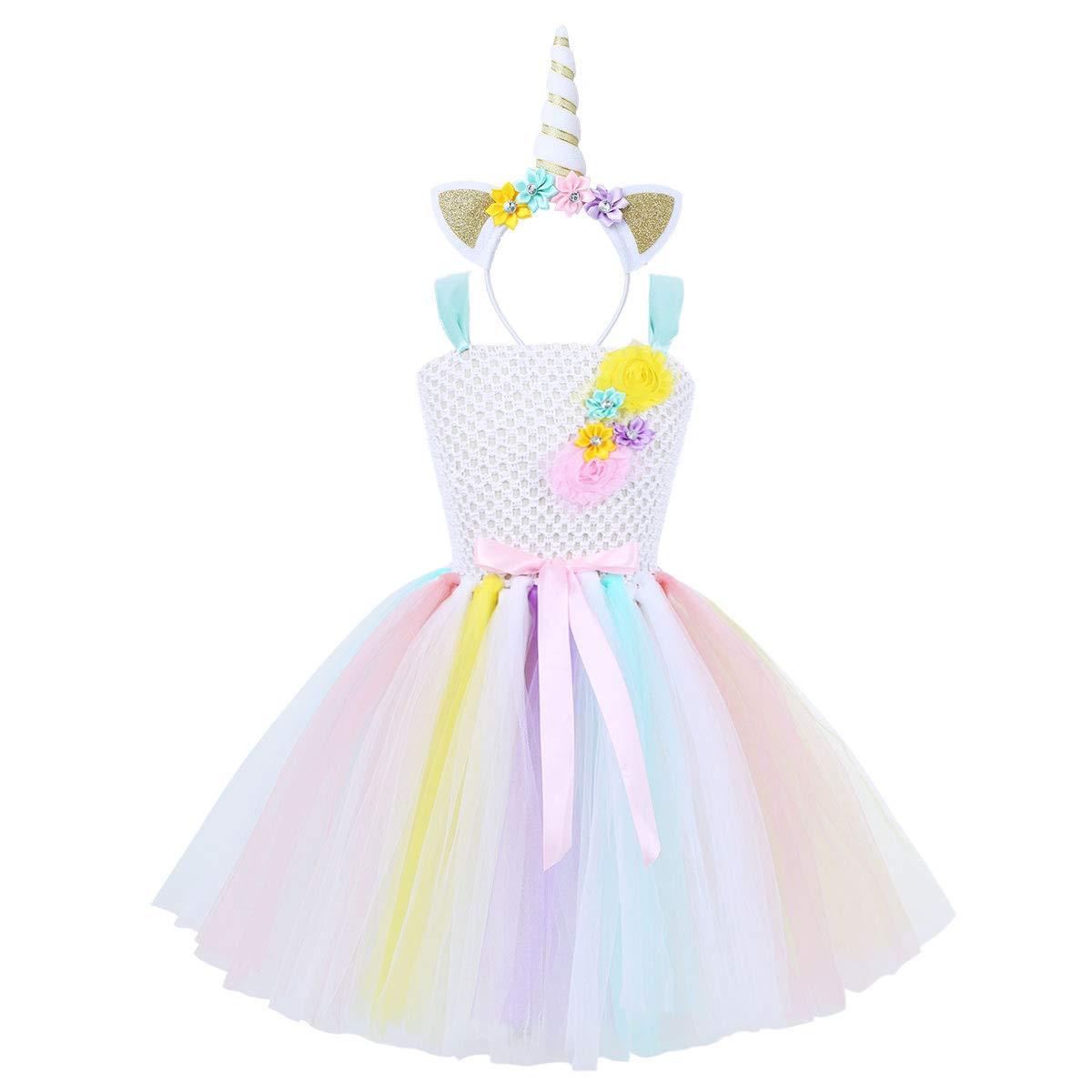 Amazon.com: TiaoBug Kids Girls Rainbow Cartoon Tutu Dress Princess Costume with Headband for Cosplay Birthday Party: Clothing