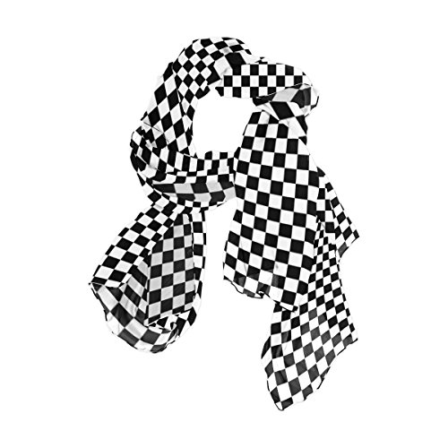 WellLee Black & White Checkerboard Sheer Scarves Shawl Wrap Women Oblong Chiffon Scarf for Outdoor