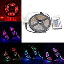 Ei-Home 1-Set 16.4ft / 5m RGB Waterproof Flexible LED Strip Light Kit, 3528 300Leds DC 12V Adhesive Light Strips Rope for Home / Garden Christmas Lighting and Decoration with 24Key Remote