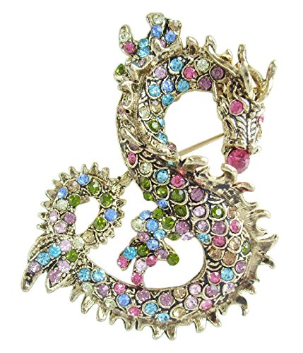Dragon Brooch Pin Pendant Multicolor Rhinestone Crystal BZ2980 ()