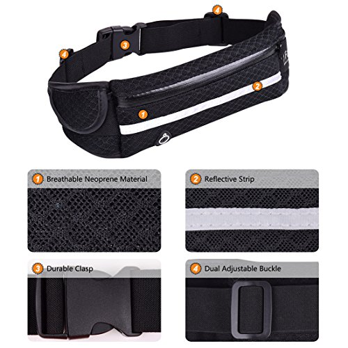 Running Belt Waist Pack Faytop Waist Bag with Water Bottle Holder (Breathable and Comfortable) for Men Women Outdoor Sport Hiking Cycling Climbing and for Mobile iPhone 6 Plus, iPhone 7 Plus, Samsung