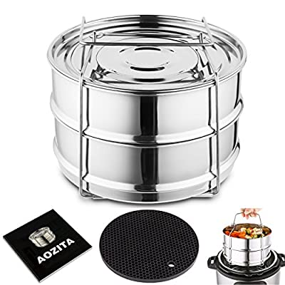 Aozita Stackable Steamer Insert Pans for Instant Pot Accessories - Fits Instant Pot 5,6,8 qt Pressure Cooker, 2 Tier Steamer Basket with Handle and Silicone Heat Resistant Mat