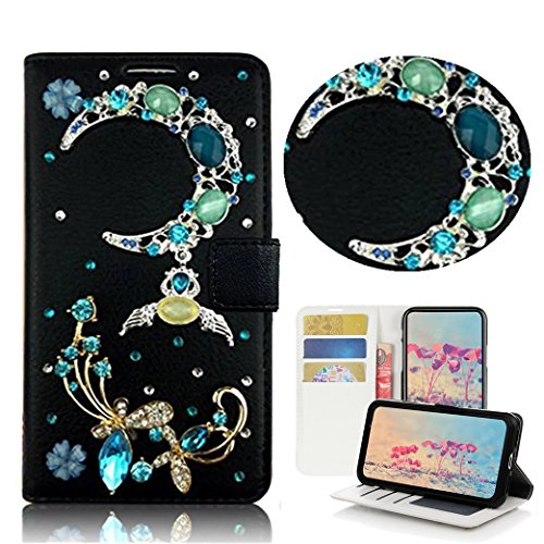 STENES Galaxy S9 Plus Case – STYLISH – 3D Handmade Bling Crystal Design Wallet Credit Card Slots Fold Media Stand Leather Cover Case for Samsung Galaxy S9 Plus – 13