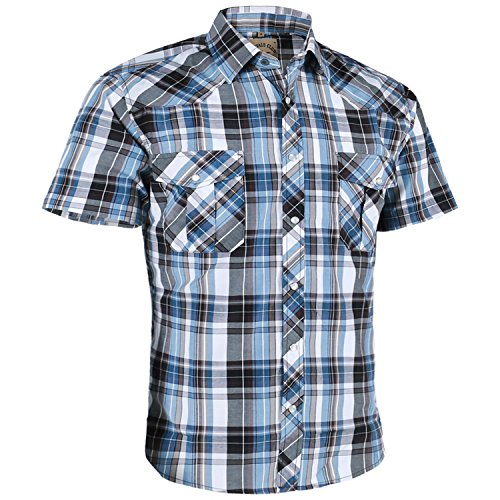 - Coevals Club Men's Casual Plaid Snap Front Short Sleeve Shirt (Blue/White #10, XL)