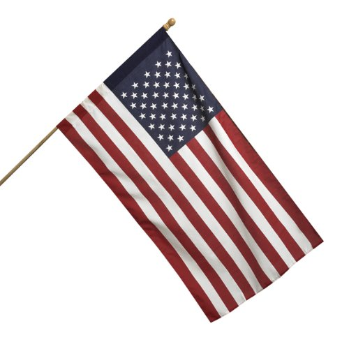 (Valley Forge, American Flag Kit, Poly Cotton, 2.5' x 4', 100% Made in USA, All American Series, 5' Wood Pole and Bracket)