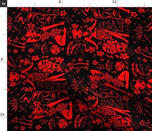 (Spoonflower Tiki Fabric - Tiki Lady Red Black Mid Century Modern Tiki Polypop Retro Hawaiian Hawaii Tiki Print Vintage by Miss Fluff Printed on Petal Signature Cotton Fabric by The Yard)