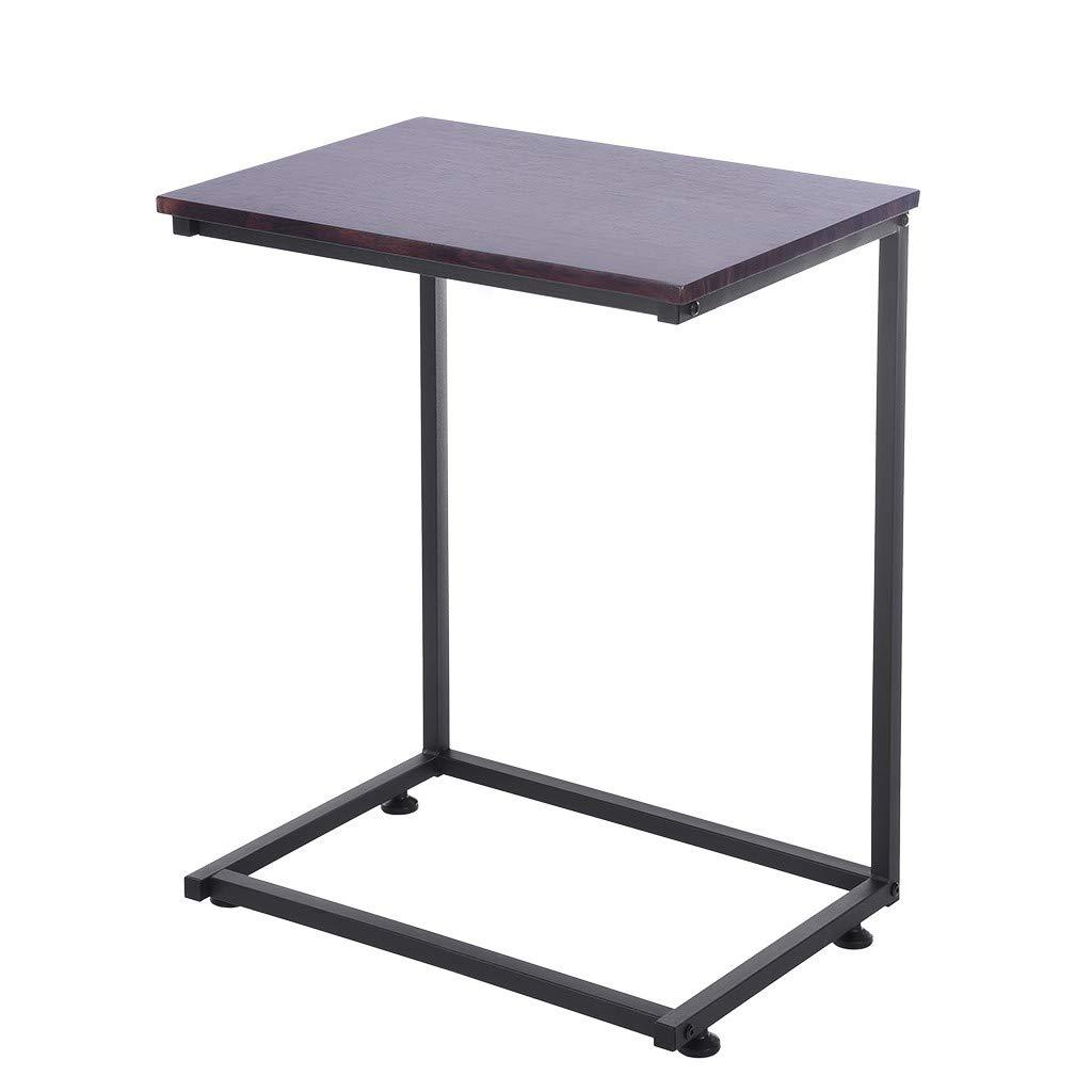 Vividen-US Warehouse Table Cloth - Sofa Side End Table C Shaped Laptop Holder End Stand Desk Coffee Tray Side Table Stand Up Desk Laptop Computer Desk Cart for Bed Sofa Room (Brown)