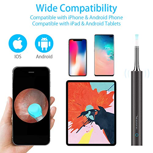 Ear Wax Removal, Earwax Endoscope Remover Tools Ear Scope Otoscope with Light Wireless Ear Camera 1080P HD with 6 LED Lights Ear Cleaner Earwax Candles for iPhone, iPad, Android Smart Phones, Tablet