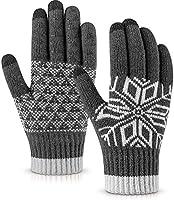 Pvendor Winter Gloves Touch Screen Warm Knit Gloves, Soft Wool Lining Elastic Cuff, Anti-Slip Rubber Design Warm Gloves...