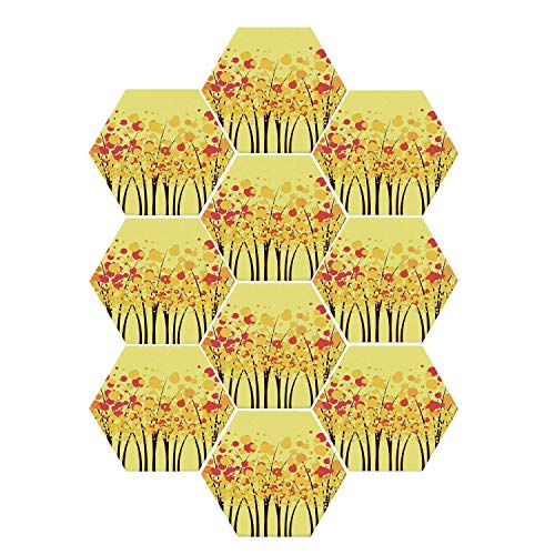 YOLIYANA Yellow Durable Hexagon Ceramic Tile Stickers,Colorful Autumn Fall Forest with Dotted Flowers Stylish Seasonal Texture Home Decorative for Living Room Kitchen,9