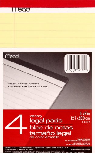 - Mead Canary Junior Legal Pads, 5 x 8 Inch, 4 Pack 50 Sheets (59382)