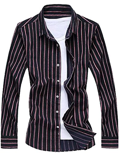 Edna Ho casual Men's Leisure Stripe Design Square-Collar Button Down Shirt BlueUS Small-(China (Morph Suit Price)