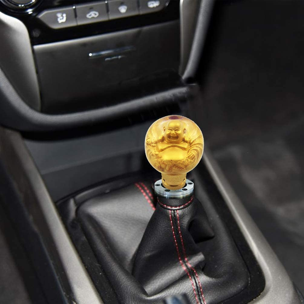 Bashineng Round Car Shifter Knob Ball Style Gear Lever Stick Shift Head Fit Most Automatic Manual Vehicle Gold