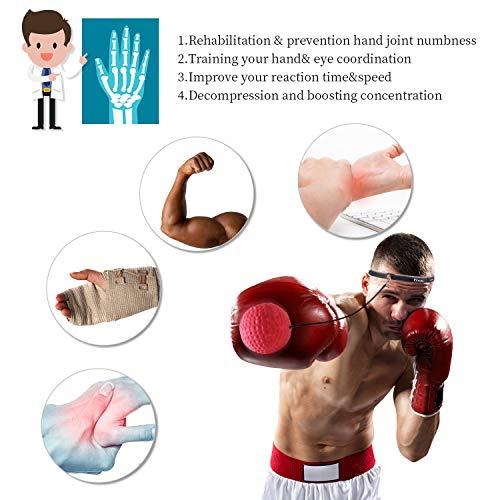 GOAMZ Boxe Balle, 3 Différents Boxing Reflex Ball + Bandeau Ajustable, pour Les Réactions de Vitesse d'entraînement s'améliorent, Fight Vitesse, La Coordination Main-œil