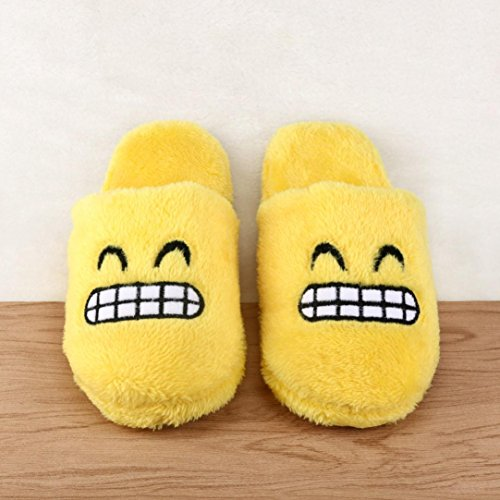 Transer® Unisex Zuhause Hausschuhe Plüsch Baumwolle+TPR Warm Weich Schuh (Bitte achten Sie auf die Größentabelle. Bitte eine Nummer größer bestellen. Vielen Dank!) 35-43 E