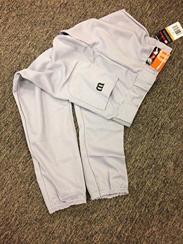 Wilson Adult Poly Doubleknit Baseball Pant, Grey, Small