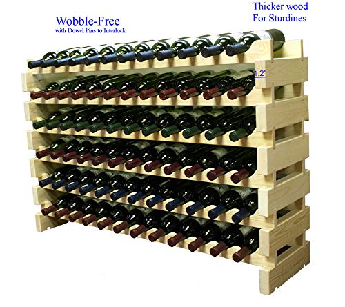 Stackable Modular Wine Rack Stackable Storage Stand Display Shelves, Wobble-Free, THICKER wood, Wobble-Free, (72 Bottle Capacity, 6 rows x 12) by DisplayGifts