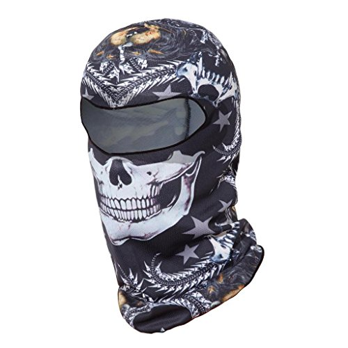 Skull Balaclava Motorcycle Halloween Full Face Mask Breathable Helmet Liner Multipurpose Outdoor Sports Wind Proof Dust Head Hood (Quick Mens Halloween Costumes)