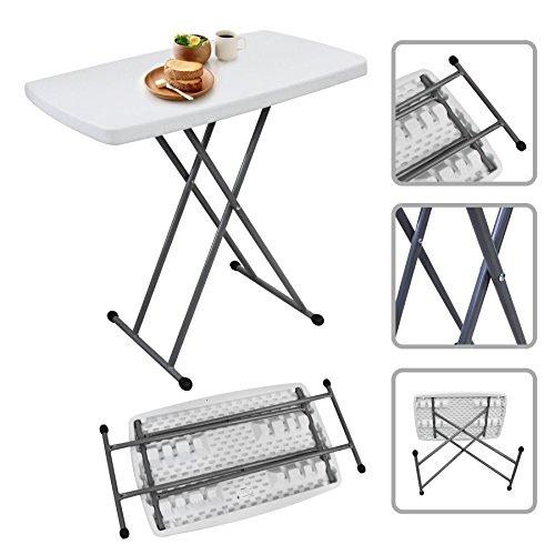 Todeco - Table Pliante Ajustable, Table Compacte et Pliable - Matériau: HDPE - Surface supérieure: 76 x 50 cm - 76 x 50 x 51/63/74 cm, Blanc