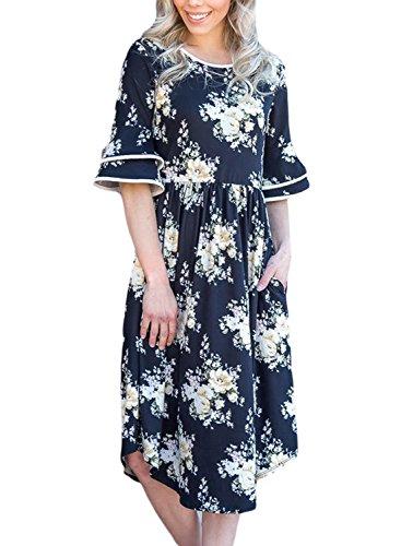 Blue Ruffles Sundress - Elapsy Womens Casual Ruffle Sleeve Boho Floral Club A Line Midi Dress with Pocket Empire Waist Knee Length Sundresses Blue Print X-Large