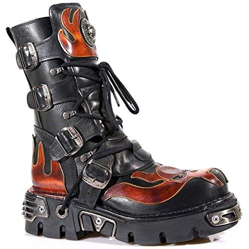 New Rock M.107-S1 Red Skull Devil Black Leather Boot Biker Goth Rock Boots