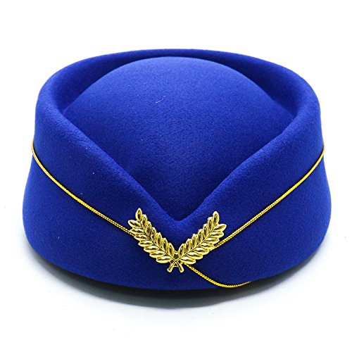 HUELE Wool Felt Stewardess Hat Stewardess Cap Flight Attendant Hat for Costume Cosplay Costume Accessories -