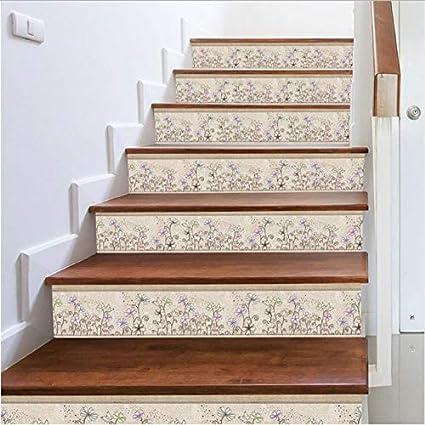 Fandhyy Stickers Escalier Moderne Fleur Wall Sticke3R 3D ...