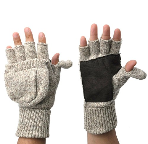 Mens Fingerless Suede Palm Ragg Wool Mitten Gloves w/ Finger & Thumb Pullover (M/L, Oatmeal)
