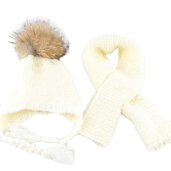 ... ensemble pour filles garçons chaud bébé enfants vrai fourrure de raton  laveur Pom Pom tricoté bonnet ensemble Bonnet et écharpe  Amazon.fr   Vêtements et ... 54a7e289038