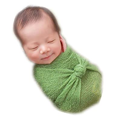 Vemonllas Luxury Stretch Newborn Boy Girl Baby Photography Props Wrap Yarn Cloth Blanket (Green): Clothing