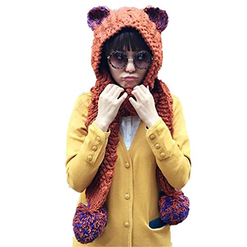 (ALLDECOR Handmade Knitted Ear Scarf Hat Winter Christmas Gifts Beanie Cap)