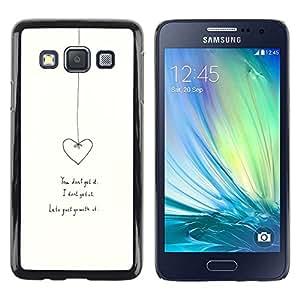 FECELL CITY // Duro Aluminio Pegatina PC Caso decorativo Funda Carcasa de Protección para Samsung Galaxy A3 SM-A300 // Heart Love Relationship White Minimalist