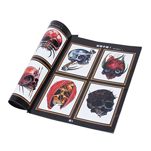 CUTICATE 52 Pages Tattoo Reference Book Sketch Picture Instruction Sheet Skulls Skeleton Pattern for Body Art