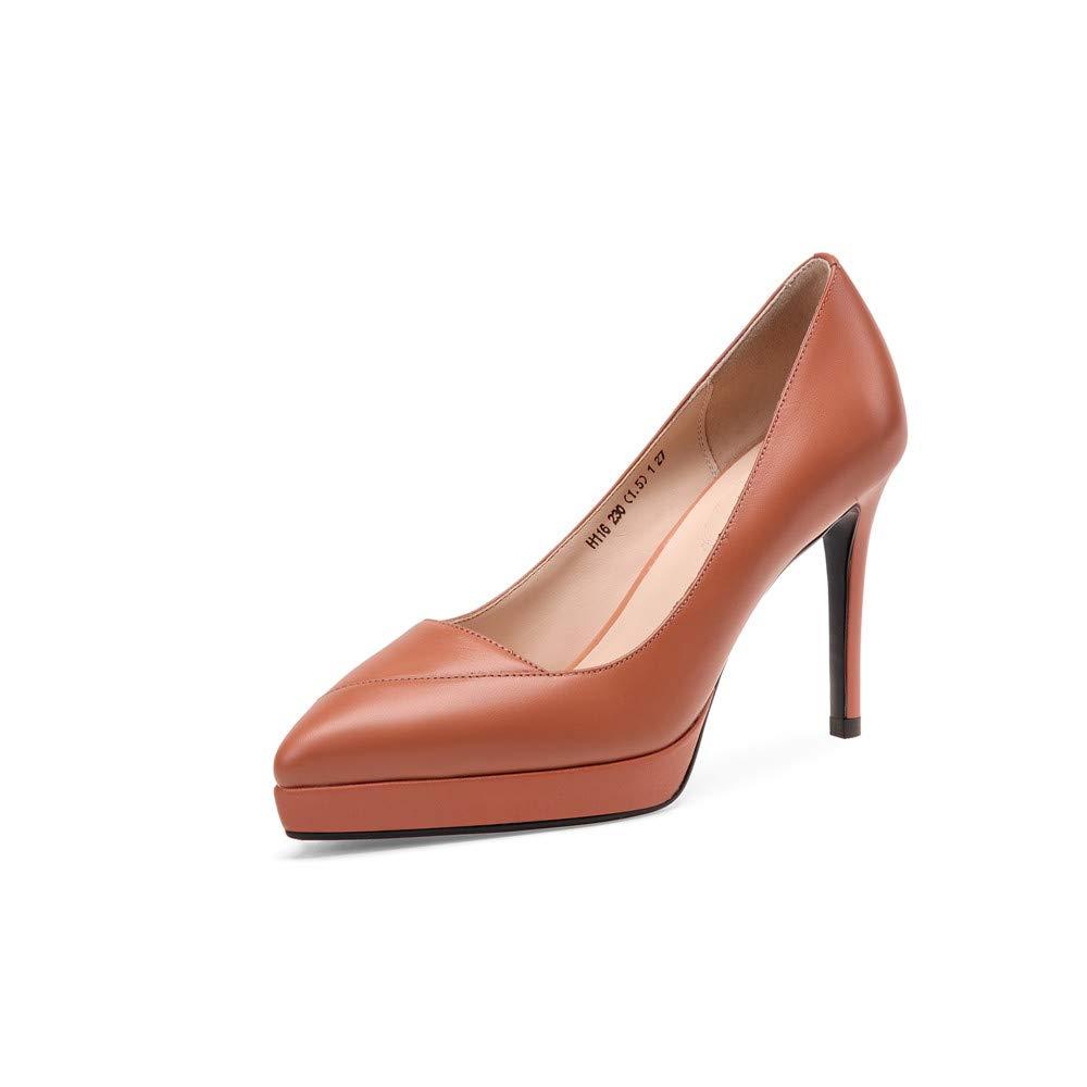Brown Nine Seven Genuine Leather Women's Almond Toe High Stiletto Heel Cute Handmade Concise Slip On Platform Women Business Pumps