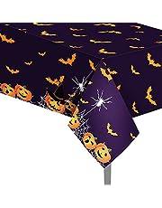Gukasxi 2 Stks Rechthoekig Halloween Tafelkleed 51x 86 Inch Pompoen Vleermuizen Tafelhoezen Wegwerp Plastic Halloween Tafelkleding voor Halloween Party Decoratie Masquerade, Diner Feesten